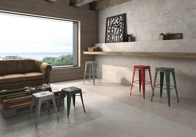 ... exempel på hur matta plattor kan användas på både vägg och golv