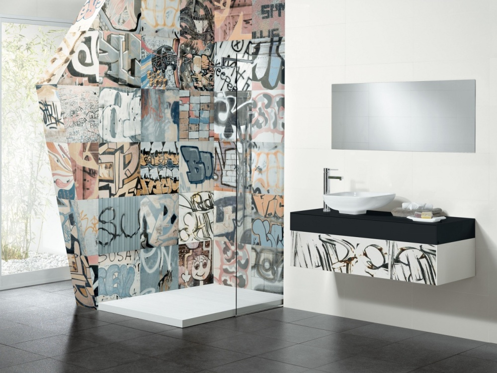 Badrum mönstrad Granitkeramik Museum Bansky (Grafitti) Kakeldacgruppen