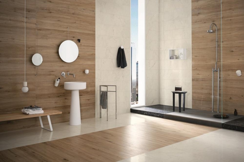 Kakeldaxgruppen tråklinker Marazzi Treverktrend Rovere Naturale badrumsmiljö
