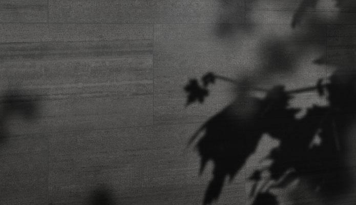 Närbild på en vägg med en mörkgrå något räfflad granitkeramik. Skuggor från en växt syns också.